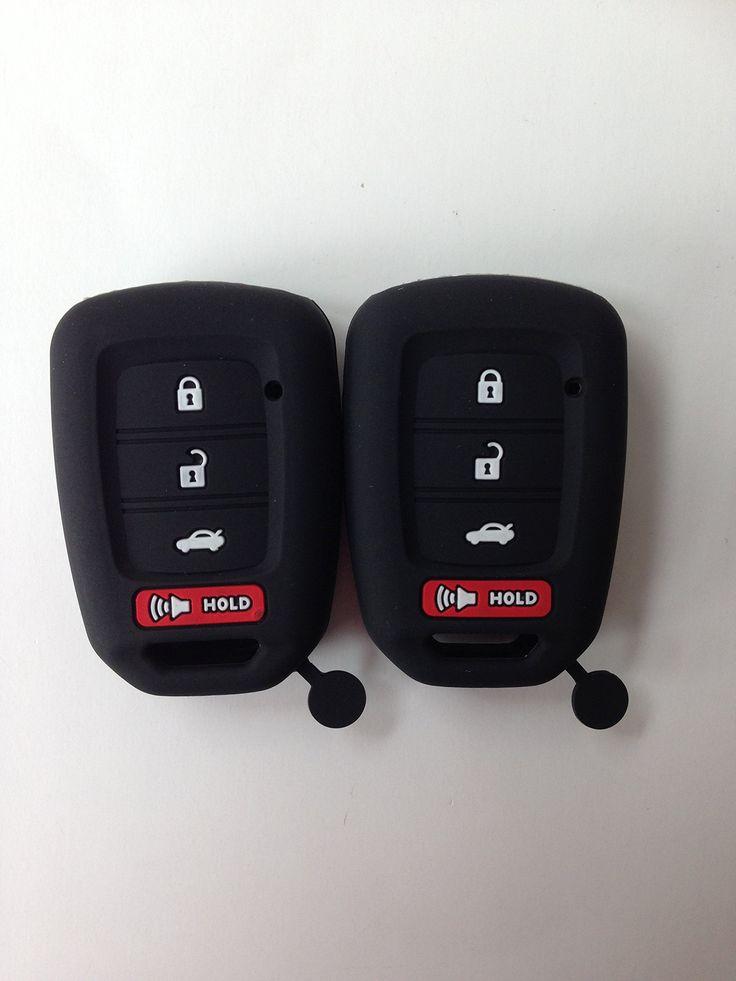 QTY(2) Black Fob Remote Key Case Cover Jacket Holder Protector for 2013-2017 Honda Accord sports 2014 2015 2016 Honda Civic keyless