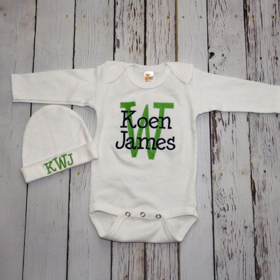 Monogrammed, Embroidered Baby Boy or Girl Coming Home Outfit - Beanie, Long Sleeve Onesie