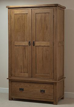 Original Rustic Solid Oak Double Wardrobe
