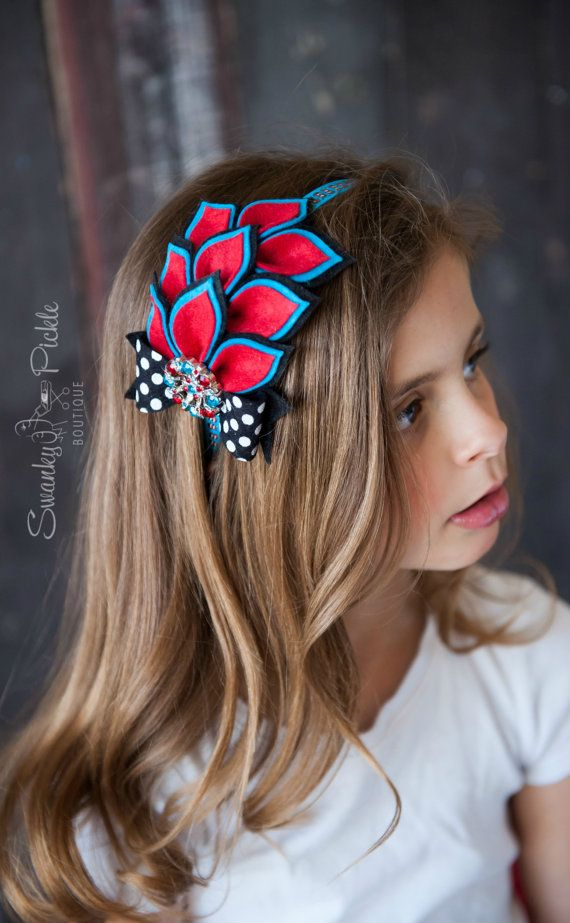 Turquoise Red Headband - Baby Headband - Girls - Toddler - Wool Felt Flower Dahlia Headband - Seuss Inspired - Cat in Hat Colors - Birthday