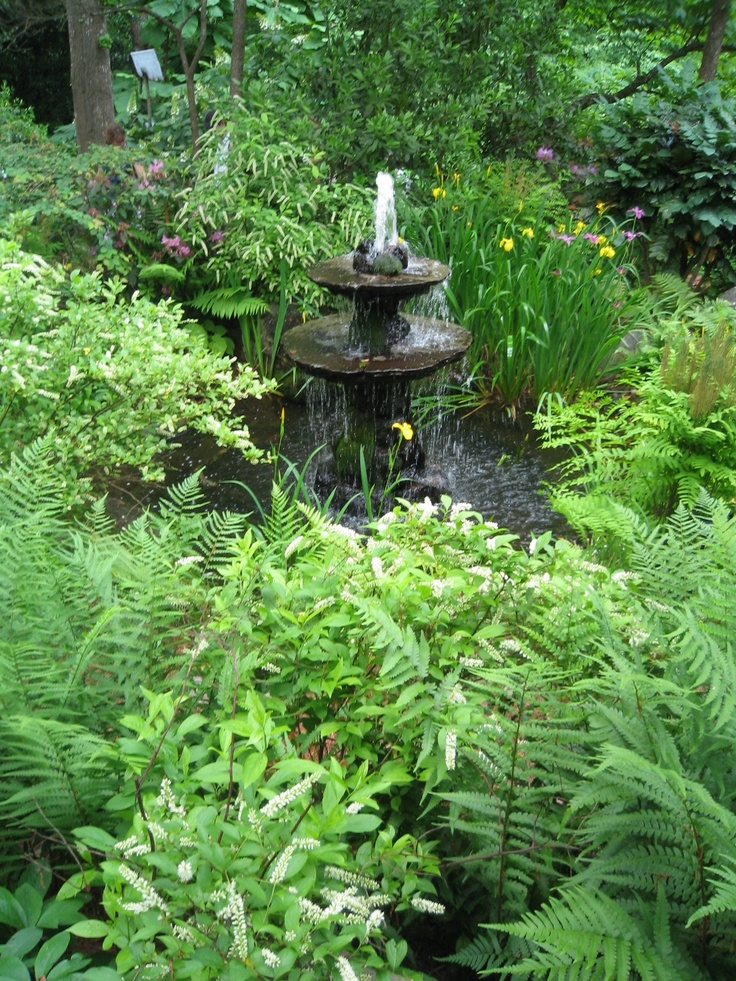 Stone tiered fountain photographed by heather moll dunn landscape and garden design on the for How to water a garden