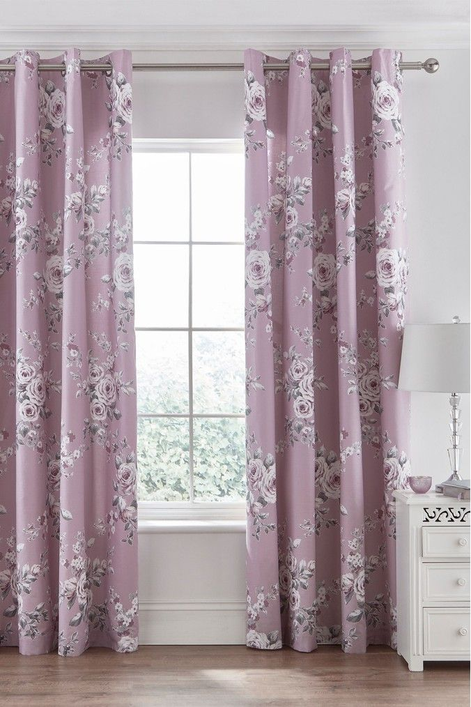 Catherine Lansfield Canterbury Floral Pencil Pleat Curtains Purple Pleated Curtains Curtains Duvet Sets