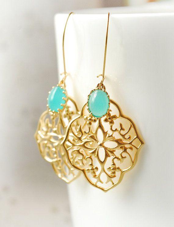 Bridesmaid Chandelier Dangle Earrings Mint Wedding Turquoise Jewelry Bridesmaid Gift Set Limonbijoux via Etsy
