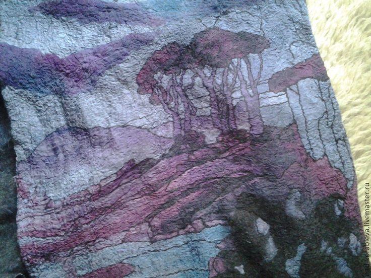 """Купить Шарфик нунофелтинг """"Домики у реки"""" - тёмно-фиолетовый, рисунок, благородный, модный аксессуар, аксессуар"""