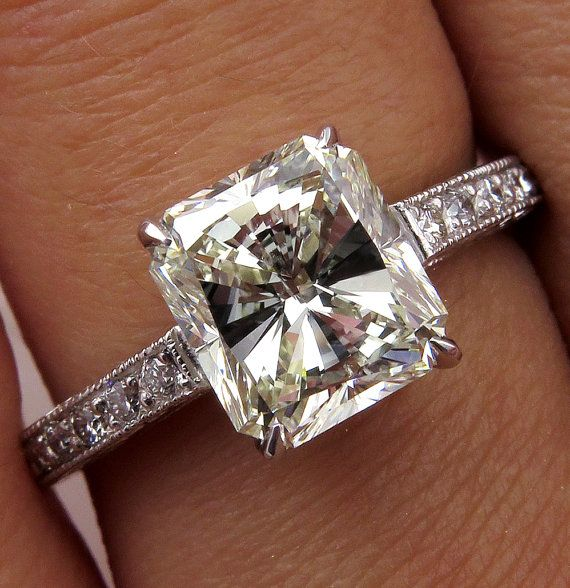 2.59ct Radiant Cut Diamond Solitaire Engagement Ring by TreasurlybyDima.......