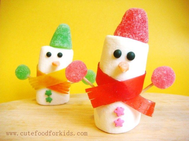 Cute Food For Kids: Marshmallow Snowman