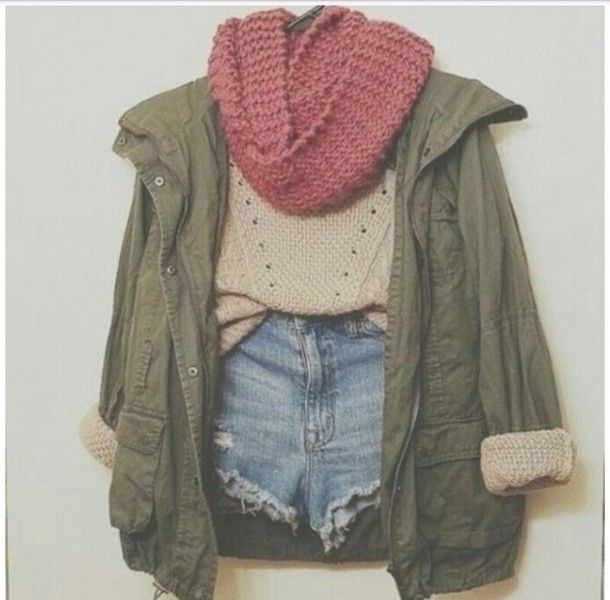 This outfit is super cute, but I'd wear jeans. If it's cold enough for a sweater, jacket, and scarf then it's too cold for shorts.