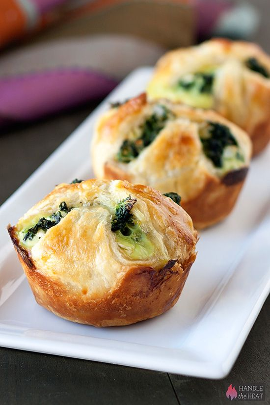 Spinach Puffs - stuffed with a cheesy spinach filling and enclosed in a buttery puff pastry crust.