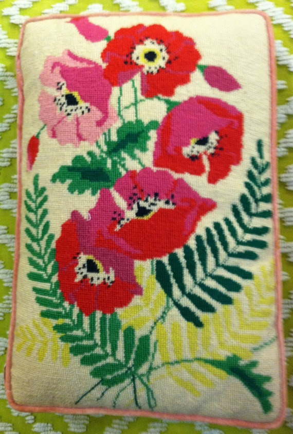 Love this vintage needle point pillow - great colors