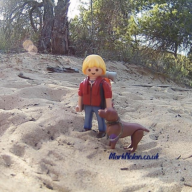 We're out for a Sunday stroll. #playmobil #hiking #walking #hiker #dog