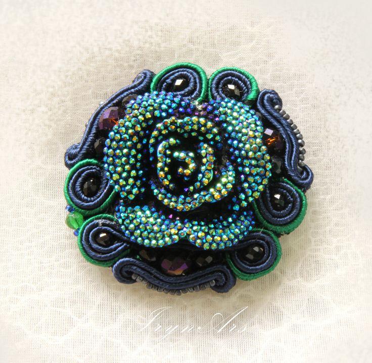 "Spilla soutache ""Rosa Blu"" 3 in 1: spilla, bracciale, fascia per capelli di IrynArs su Etsy"