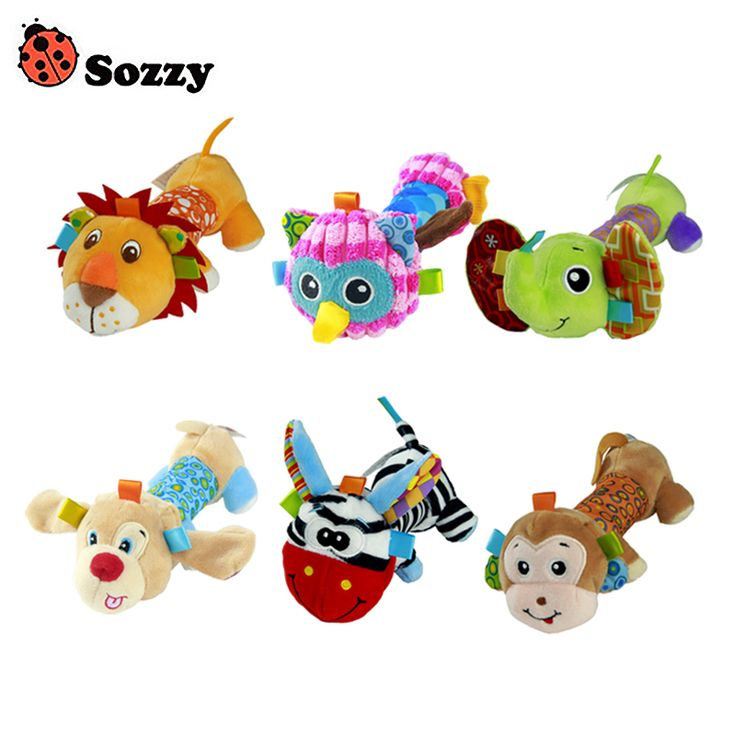 Sozzy Soft Baby Plush Toy Safe Distorting Mirror Squeaker Crinkle Sound Multicolor Cute Animal Lion Owl Dog Elephant