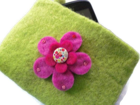Lime Green Upcycled Wool Felt Purse  Flower by moodycowdesigns, £8.00