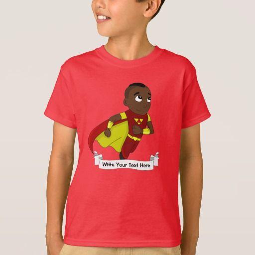 Custom running superhero boy cartoon T-Shirt