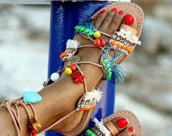 Sandals Hula Hoop handmade to order by ElinaLinardaki on Etsy