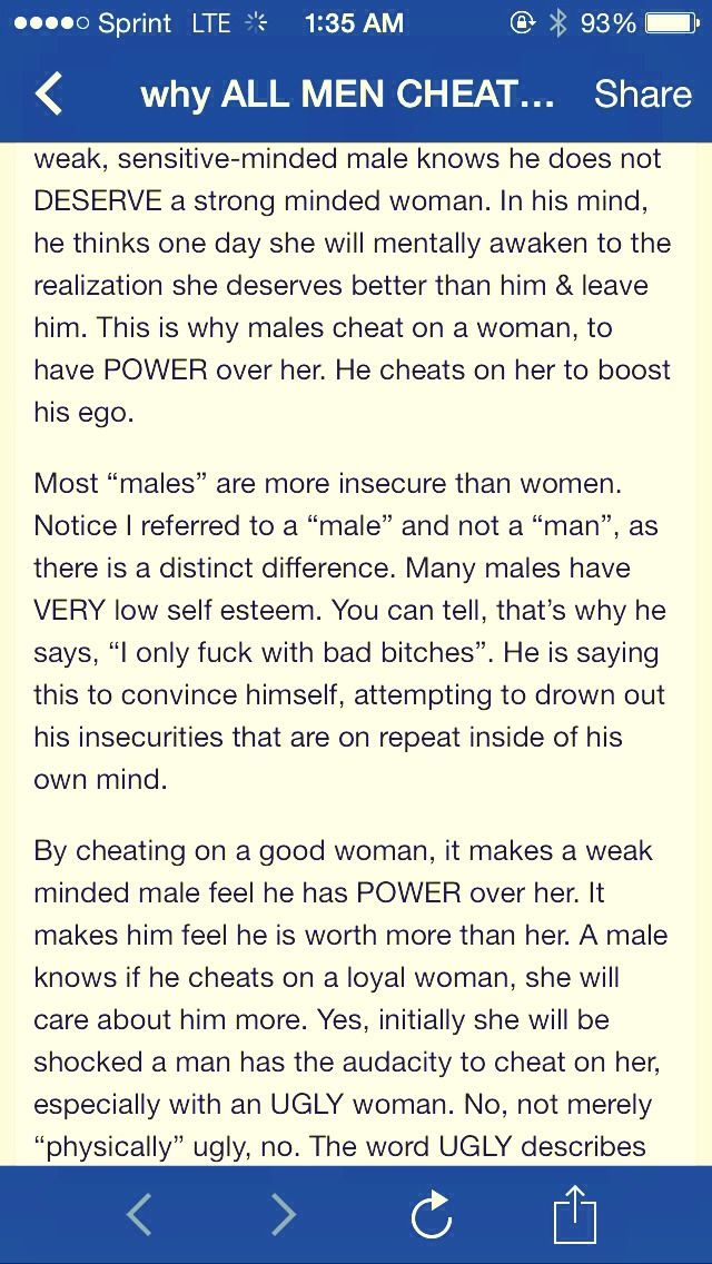 """why All Men Cheat On Loyal Women"" (lengthy, But Worth The Read)I made sure I got everything in the screenshots, just double click on the pictures to see the full picture or click the link below to open the page. Please don't forget to like if you read it all and liked it.:) http://realnewspaper.wordpress.com/2014/03/13/why-men-cheat-on-loyal-women/"