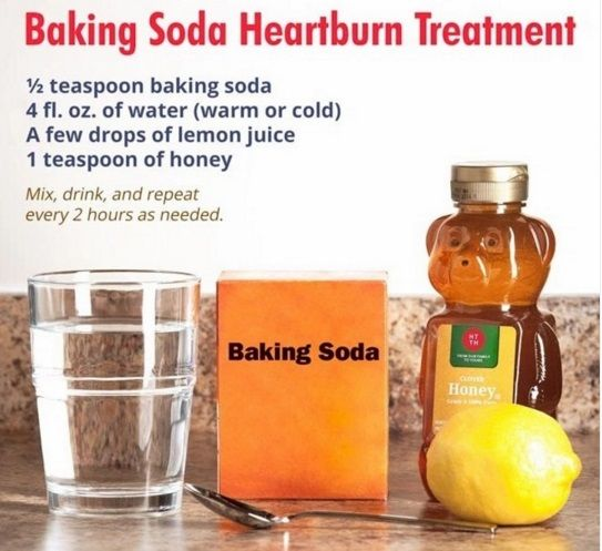Baking Soda For Heartburn  Heartburn is just when the pH level of your stomach is too high, and you feel an acidic burn in your trachea.  Use this recipe to bring the pH of your digestive system down