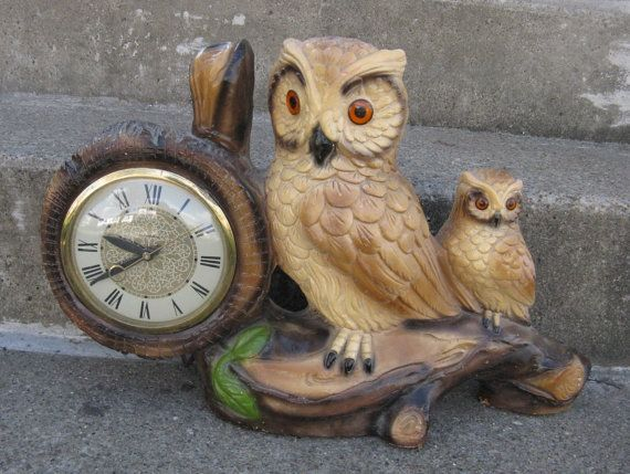 owl clock electric chalkware owl clock mid by rivertownvintage, $64.99