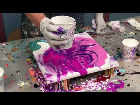 Acrylic Pour Painting: Painting A Flower Using Negative Space Demo #2 - YouTube