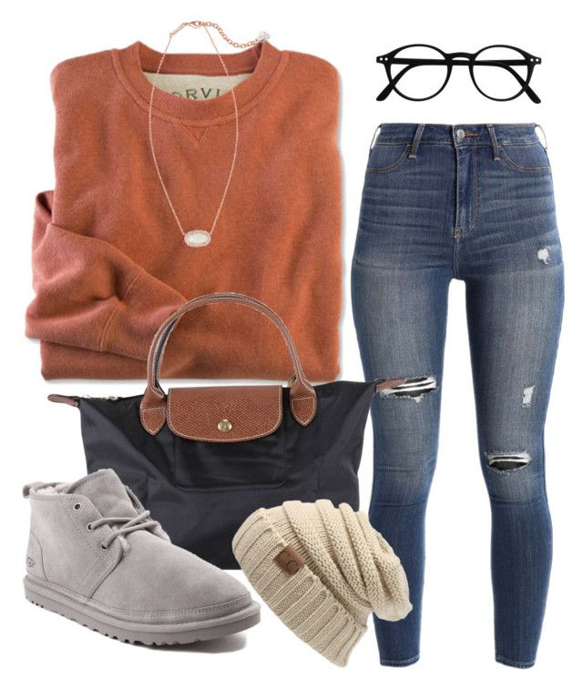 """""""prep and steppin in a winter wonderland"""" by jiggle207 ❤ liked on Polyvore featuring Hollister Co., Kendra Scott, Longchamp and UGG"""