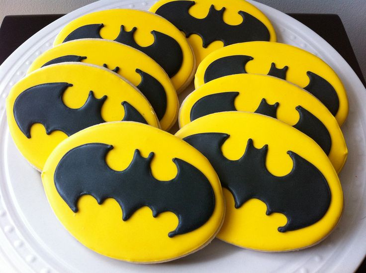 Decorated Batman Logo Cookies- for your superhero party favor. $42.00, via Etsy.
