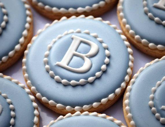 Elengant monogramme bleu & blanc Cookies  une par thesweetesttiers, $48.00