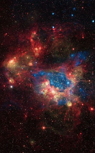 A Surprisingly Bright Superbubble (detail) |The star cluster NGC 1929 contains massive stars that produce intense radiation, expel matter at high speeds, and race through their evolution to explode as supernovas. The winds and shock waves carve out huge cavities called superbubbles in the surrounding gas. X-rays from Chandra (blue) in this composite image reveal the regions created by these winds and shocks, while infrared data from Spitzer (red) outline where the dust and cooler gas are…