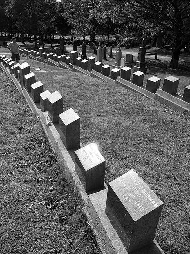 The graves of the Titanic dead    Most of the gravestones identical, with the name and identification number of the victim, and the identical date of death, 15 April 1912. There are over 300 graves in Halifax, most in this cemetery, and also some in the Roman Catholic and Jewish cemeteries.