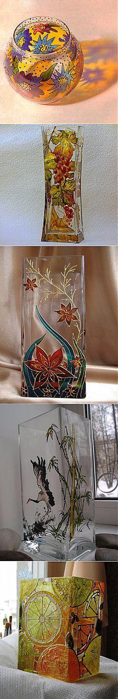 (+1) тема - Роспись стеклянных ваз своими руками | Интерьер и Дизайн