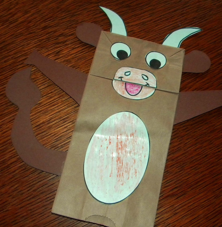 cow projects for preschoolers | Paper Bag Cow Puppet for a Farm Unit