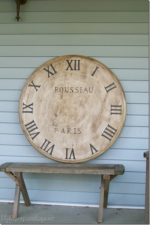 How To Make An Extra Large Faux Clock Out Of An Old Table Top. How To  Stencil Roman Numerals For A Faux Clock.