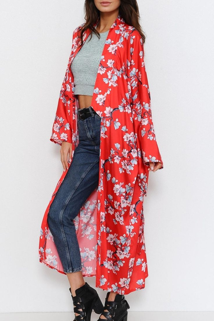 A satin kimono featuring cherry blossom print detailing all throughout. With an open front, long sleeves and finished hem.   Floral Satin Kimono by L'atiste. Clothing - Jackets, Coats & Blazers - Kimonos & Wraps Alberta, Canada