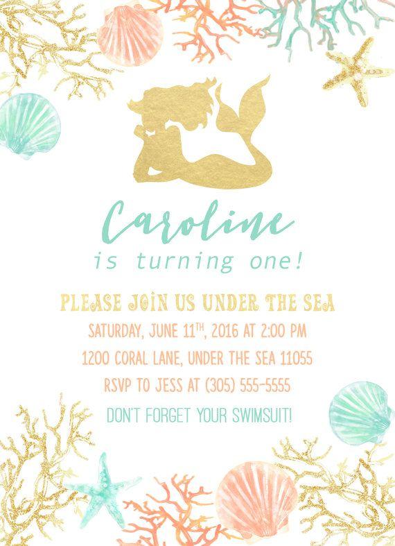Gold Foil Mermaid Girl Birthday Party Invitation by CasaConfetti