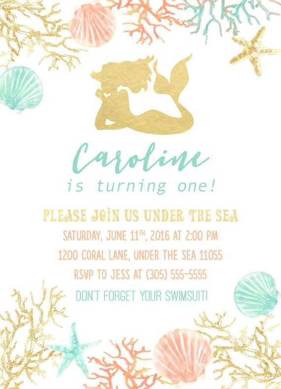 Gold Foil Mermaid Girl Birthday Party Invitation by CasaConfetti