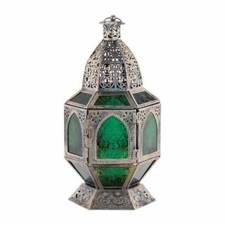 $44.95 - Divine shades of candlelit green will dance around your room from the patterned, pressed-glass panels of this ornate lantern.