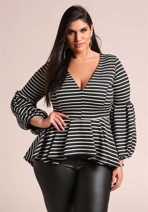 Plus Size Puff Sleeve Peplum Stripe Blouse