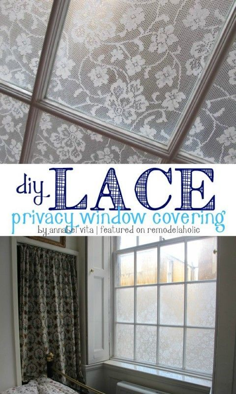 DIY Lace Privacy Window Covering | Annabel Vita on http://Remodelaholic.com #AllThingsWindows #privacy #lace