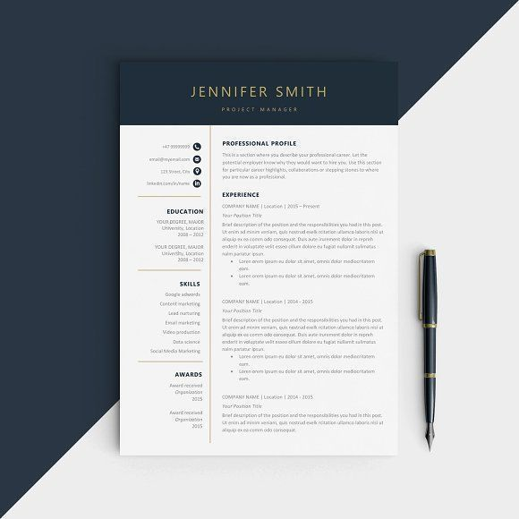 CV | Resume Template by Comely Design Studio on @creativemarket Professional printable resume / cv cover letter template examples creative design and great covers, perfect in modern and stylish corporate business design. Modern, simple, clean, minimal and feminine style. Ready to print us letter and a4 layout inspiration to grab some ideas. In psd, indd, docs, ms word file format.