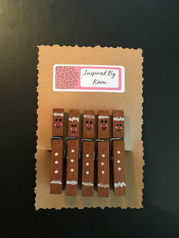 Gingerbread Clothespins 5-pieces in a set by InspiredByKam on Etsy