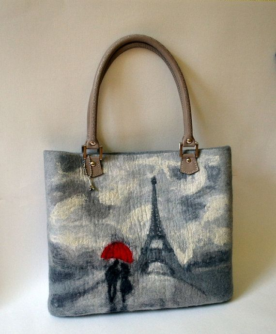 Paris Seasons Felted handbag Wool Drawing by AlexandraApratova