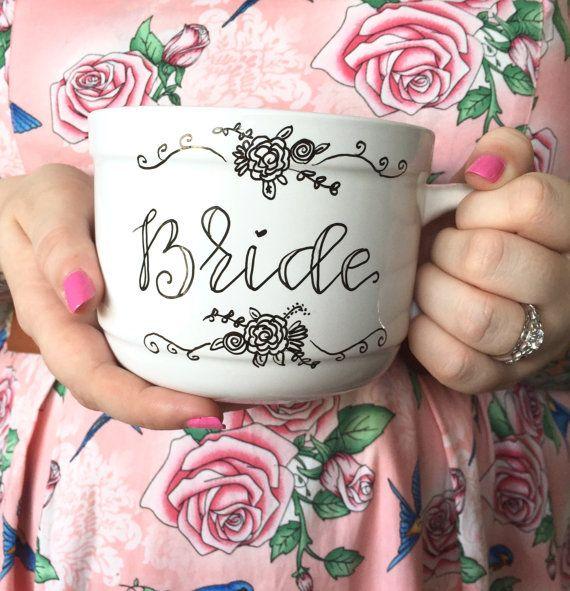 bride floral mug / custom personalized engagement / wedding / bridal shower gift mug.