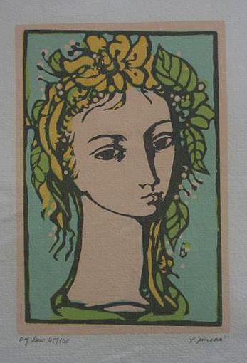 """Ludmila Jiřincová: """"Girl"""", lithography, 17.5 x 12 cm. No. 45/100. Signed: L. Jiřincová."""