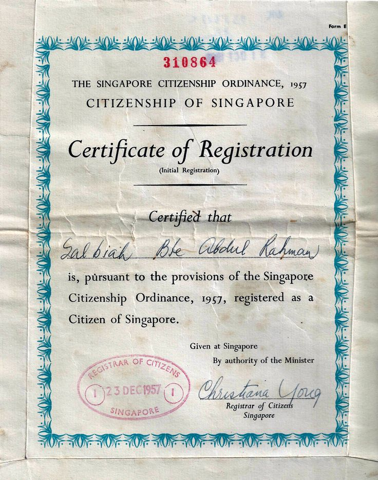 My mum's Citizenship Certificate.