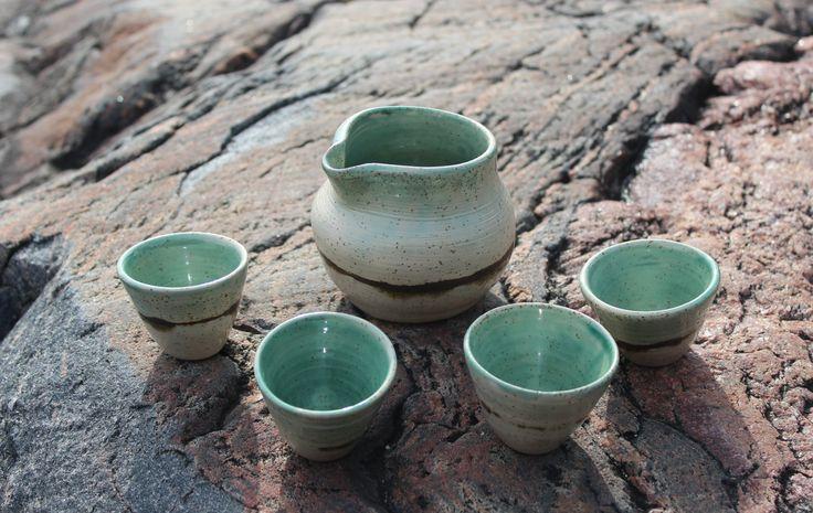 wheel thrown sake set