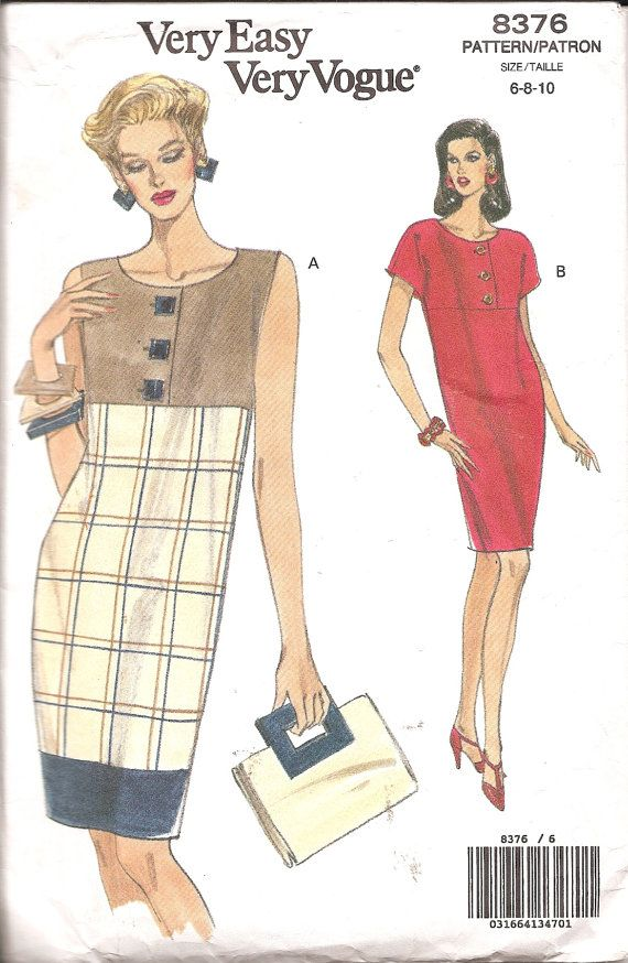Vintage Sewing Pattern 1980s Pullover Dress Vogue by TenderLane, $12.00