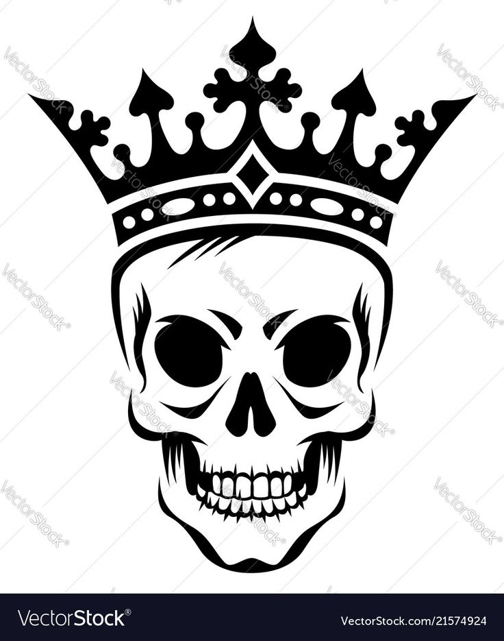 Angry skull of king in crown stylized black illustration