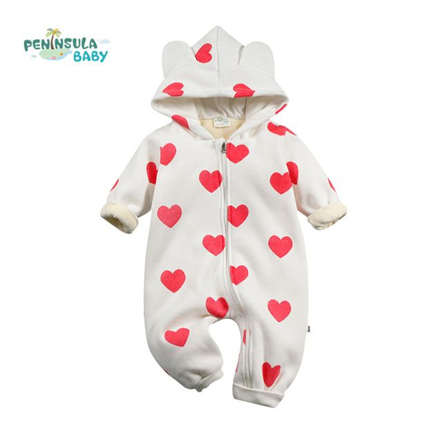 Good price New Winter Kid Baby Romper Toddler Girl Costume Cute Heart Geometric Pattern Infant Clothing Jumpsuit Hooded Clothes just only $13.95 with free shipping worldwide  #babygirlsclothing Plese click on picture to see our special price for you