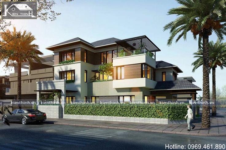 Mẫu thiết kế nhà biệt thự phố 3 tầng đẹp BT1537