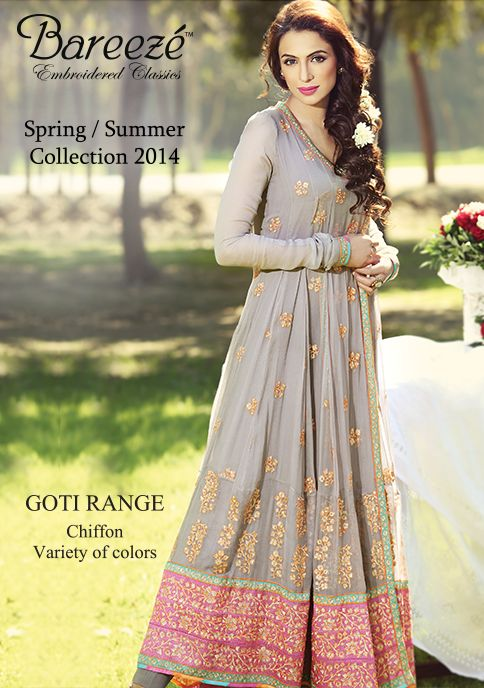 Bareeze Summer Grey Golden Embroidered Chiffon Dresses 2014 – X Pakistani Fashion Clothes Dresses Collection