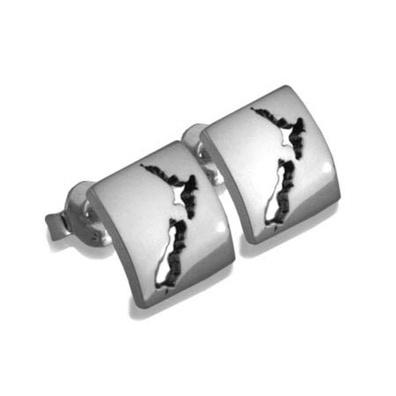 Silver & Some - Evolve - Earrings & Cufflinks, NZ Map Earrings